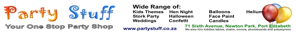 Party Stuff, for all your party accessories, decore for sale and hire
